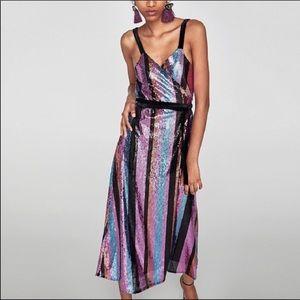 Zara Multicolored Sequin Wrap Dress